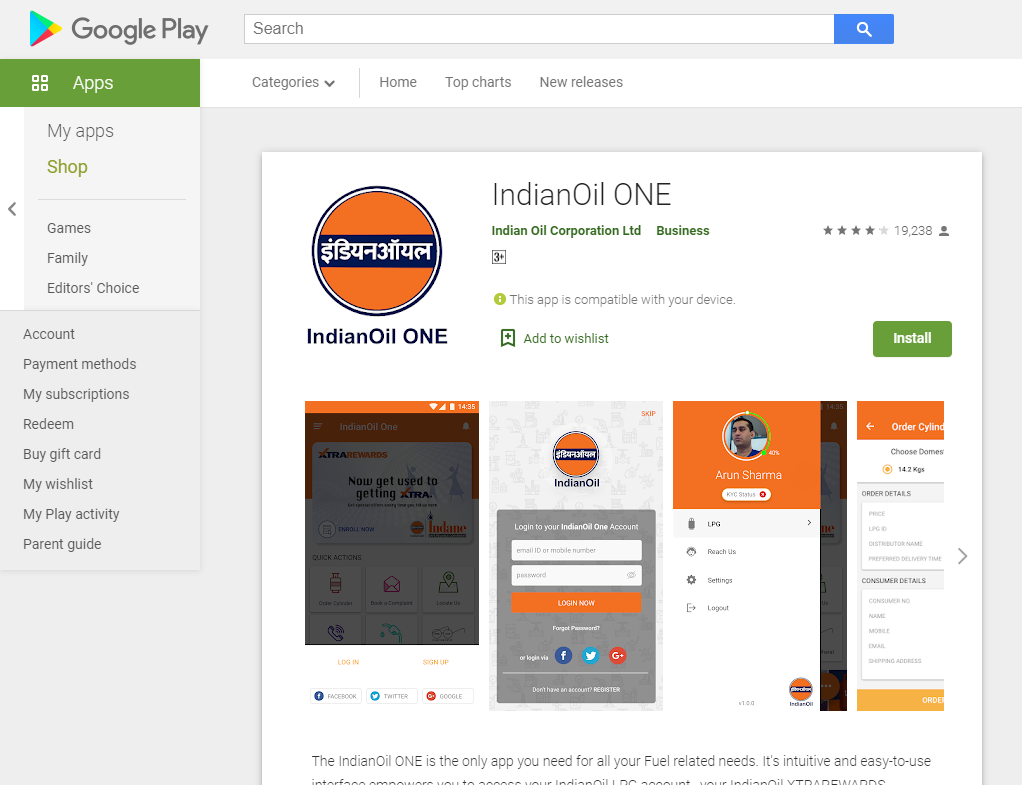 Indane Gas Booking Online android app